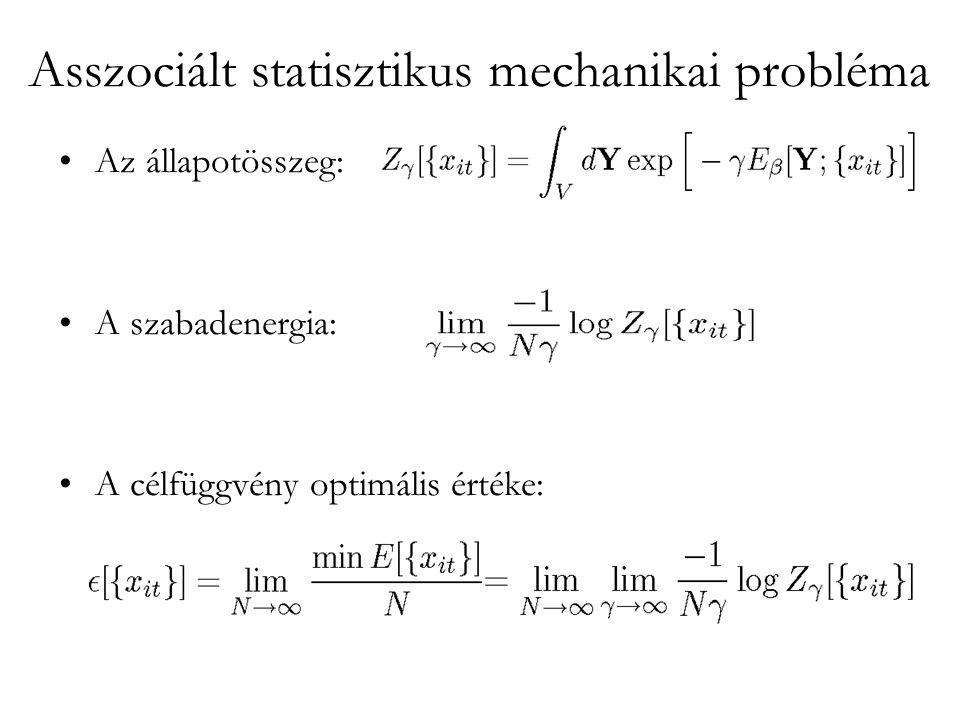 Asszociált statisztikus mechanikai probléma •Az állapotösszeg: •A szabadenergia: •A célfüggvény optimális értéke: