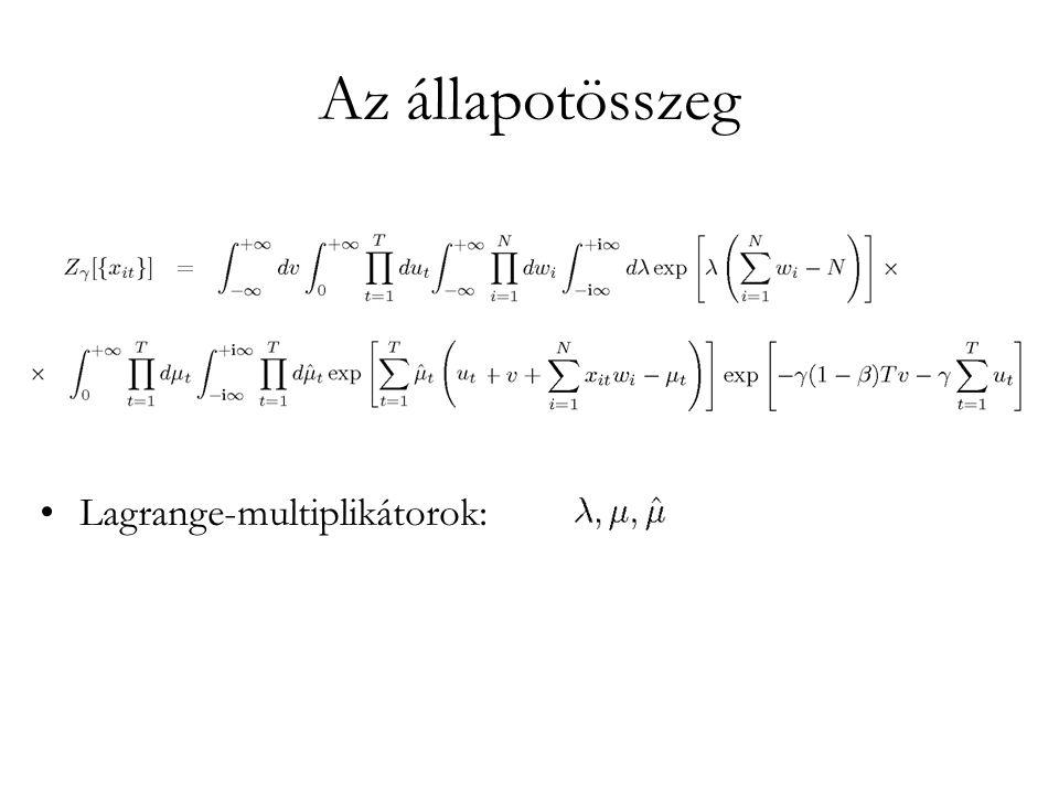 Az állapotösszeg •Lagrange-multiplikátorok:
