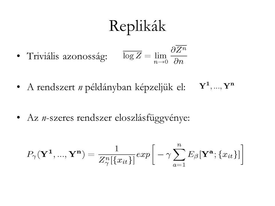 Replikák •Triviális azonosság: •A rendszert n példányban képzeljük el: •Az n-szeres rendszer eloszlásfüggvénye: