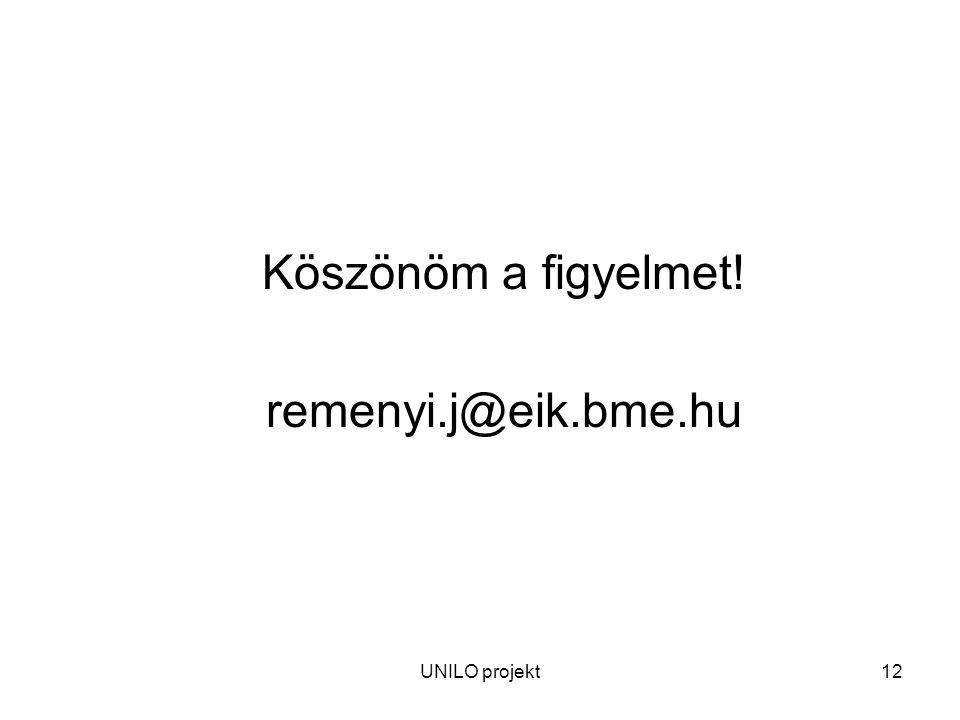 UNILO projekt12 Köszönöm a figyelmet! remenyi.j@eik.bme.hu