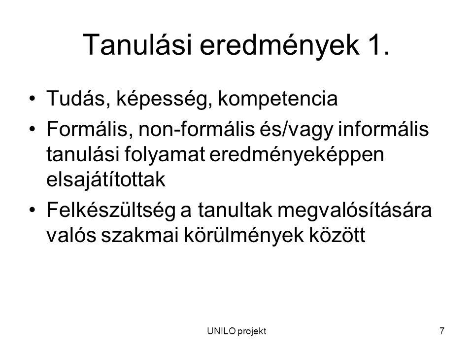 UNILO projekt7 Tanulási eredmények 1.
