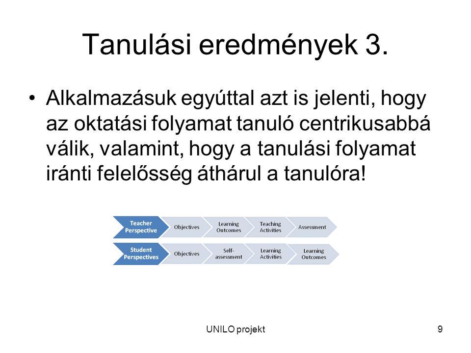UNILO projekt9 Tanulási eredmények 3.