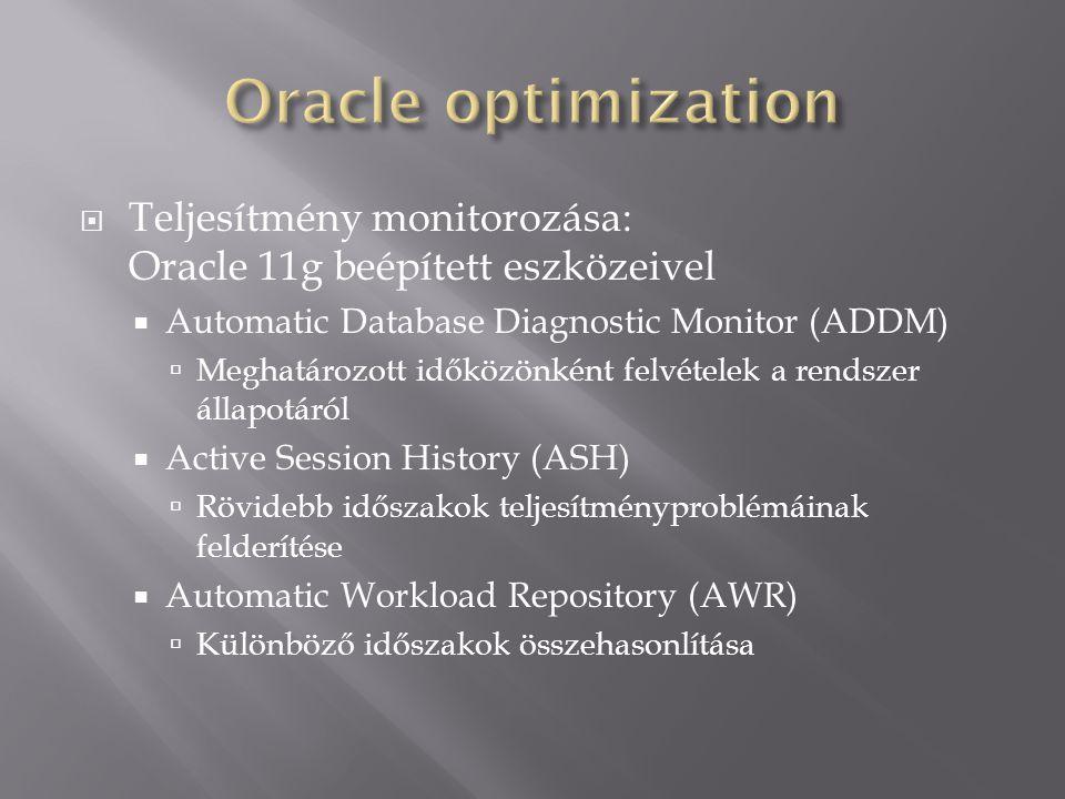  Teljesítmény monitorozása: Oracle 11g beépített eszközeivel  Automatic Database Diagnostic Monitor (ADDM)  Meghatározott időközönként felvételek a