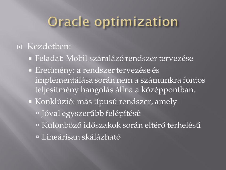  Kezdetben:  Feladat: Mobil számlázó rendszer tervezése  Eredmény: a rendszer tervezése és implementálása során nem a számunkra fontos teljesítmény