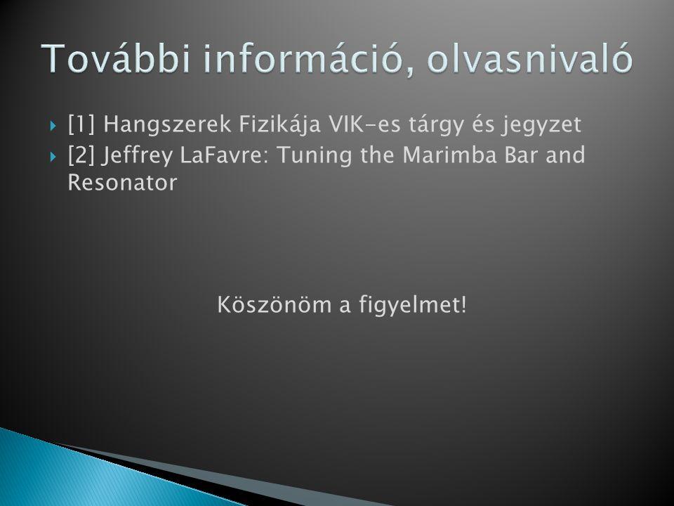  [1] Hangszerek Fizikája VIK-es tárgy és jegyzet  [2] Jeffrey LaFavre: Tuning the Marimba Bar and Resonator Köszönöm a figyelmet!