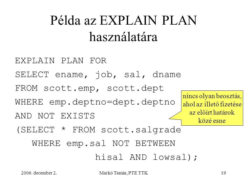 2006. december 2.Markó Tamás, PTE TTK19 Példa az EXPLAIN PLAN használatára EXPLAIN PLAN FOR SELECT ename, job, sal, dname FROM scott.emp, scott.dept W