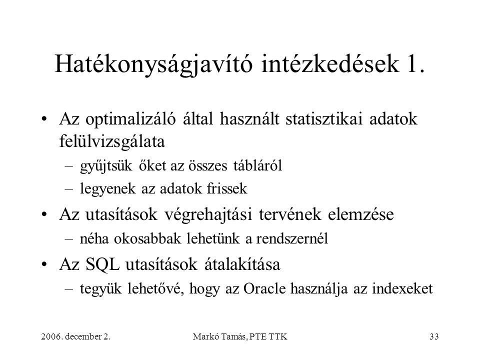 2006. december 2.Markó Tamás, PTE TTK33 Hatékonyságjavító intézkedések 1. •Az optimalizáló által használt statisztikai adatok felülvizsgálata –gyűjtsü