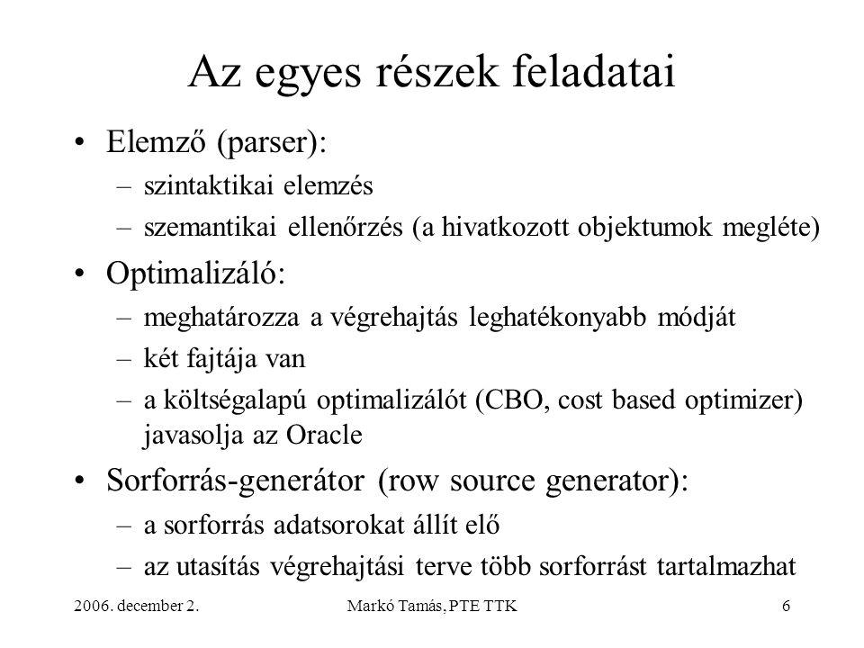 2006. december 2.Markó Tamás, PTE TTK6 Az egyes részek feladatai •Elemző (parser): –szintaktikai elemzés –szemantikai ellenőrzés (a hivatkozott objekt