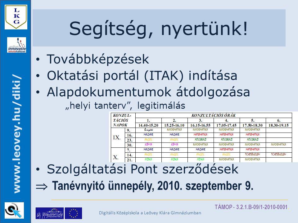 TÁMOP - 3.2.1.B-09/1-2010-0001. www.leovey.hu/diki/ Segítség, nyertünk.