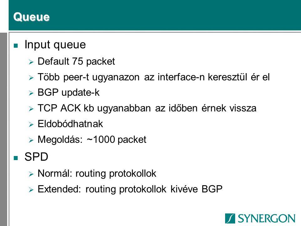 Queue n Input queue  Default 75 packet  Több peer-t ugyanazon az interface-n keresztül ér el  BGP update-k  TCP ACK kb ugyanabban az időben érnek