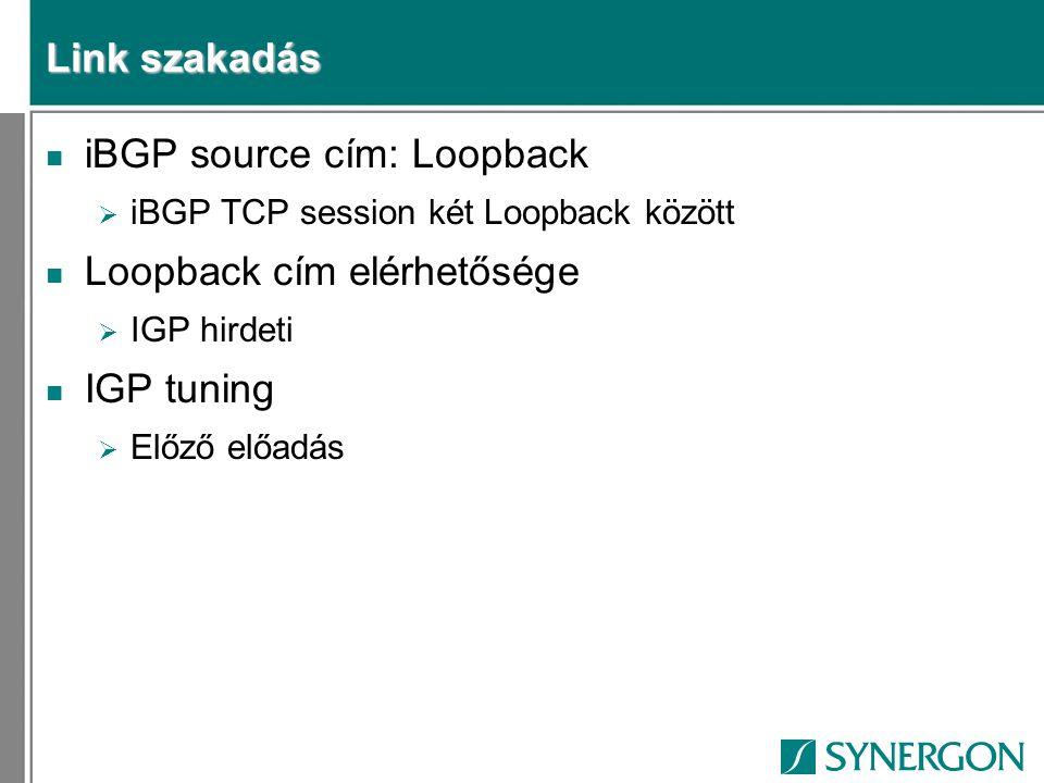 Link szakadás n iBGP source cím: Loopback  iBGP TCP session két Loopback között n Loopback cím elérhetősége  IGP hirdeti n IGP tuning  Előző előadá