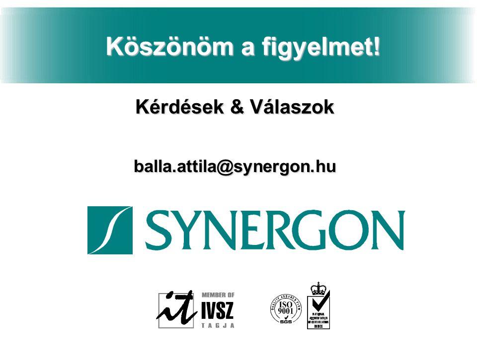 Köszönöm a figyelmet! Kérdések & Válaszok balla.attila@synergon.hu