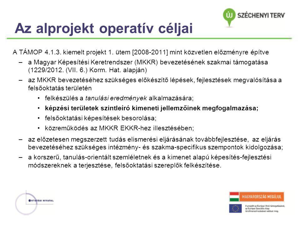 Az alprojekt operatív céljai A TÁMOP 4.1.3. kiemelt projekt 1.