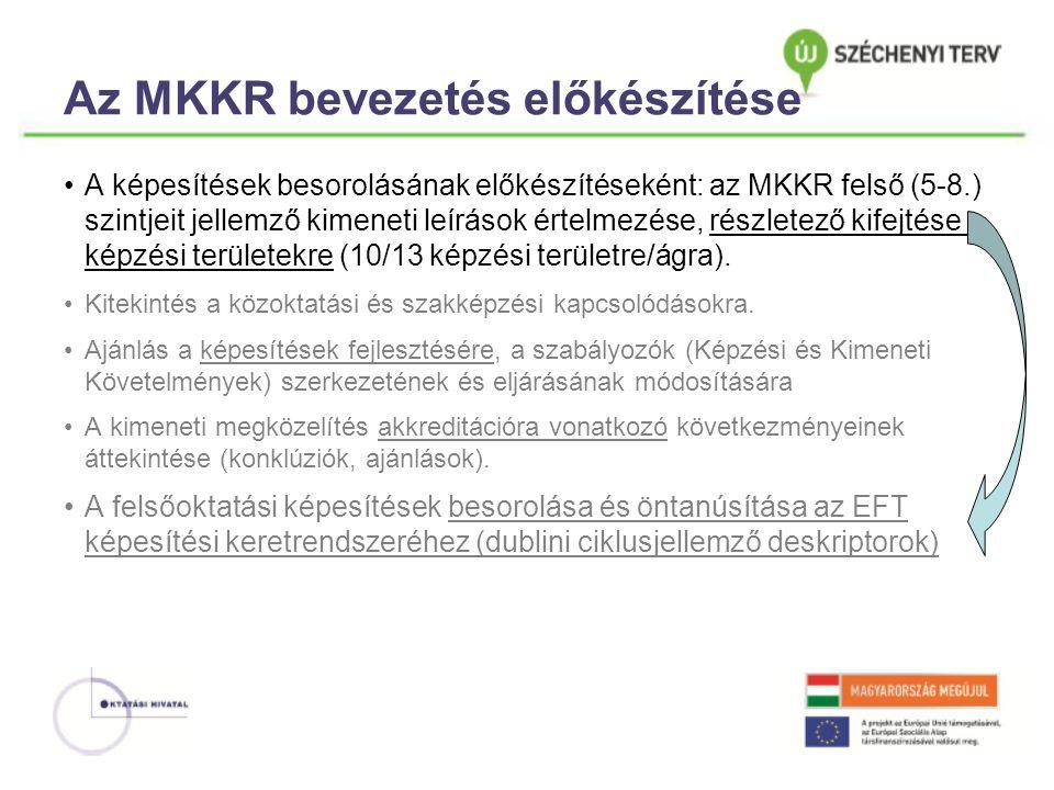 Az MKKR bevezetés előkészítése •A képesítések besorolásának előkészítéseként: az MKKR felső (5-8.) szintjeit jellemző kimeneti leírások értelmezése, részletező kifejtése a képzési területekre (10/13 képzési területre/ágra).
