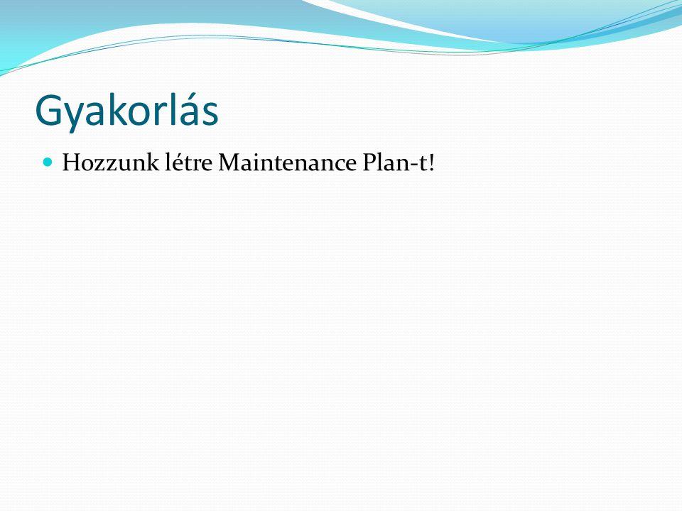 Gyakorlás  Hozzunk létre Maintenance Plan-t!