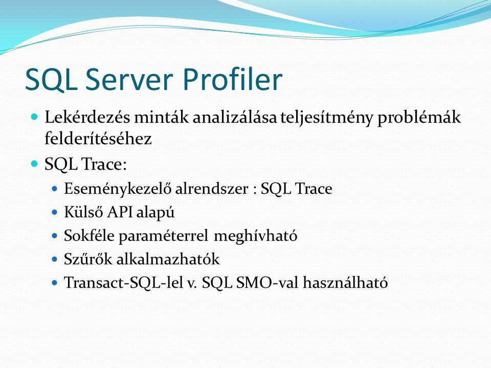 SQL Server Profiler  Lekérdezés minták analizálása teljesítmény problémák felderítéséhez  SQL Trace:  Eseménykezelő alrendszer : SQL Trace  Külső