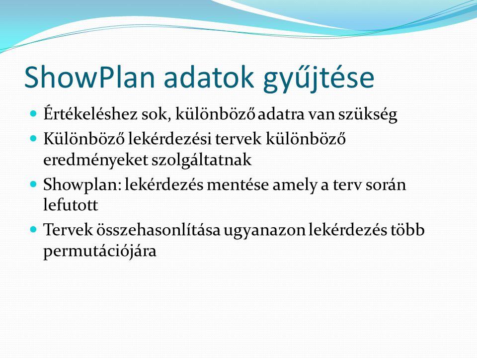 ShowPlan adatok gyűjtése  Értékeléshez sok, különböző adatra van szükség  Különböző lekérdezési tervek különböző eredményeket szolgáltatnak  Showpl