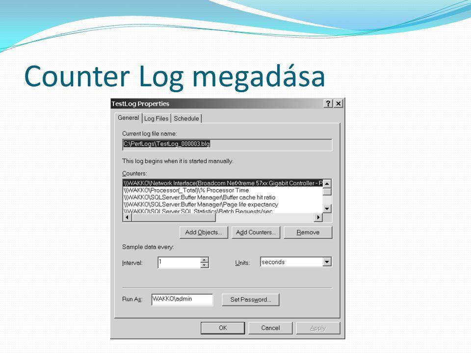 Counter Log megadása