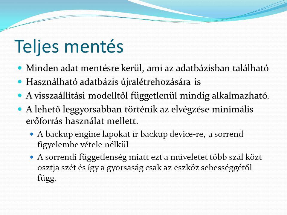 Teljes mentés  Minden adat mentésre kerül, ami az adatbázisban található  Használható adatbázis újralétrehozására is  A visszaállítási modelltől fü