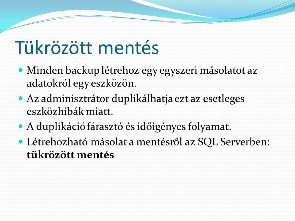Tükrözött mentés  Minden backup létrehoz egy egyszeri másolatot az adatokról egy eszközön.  Az adminisztrátor duplikálhatja ezt az esetleges eszközh