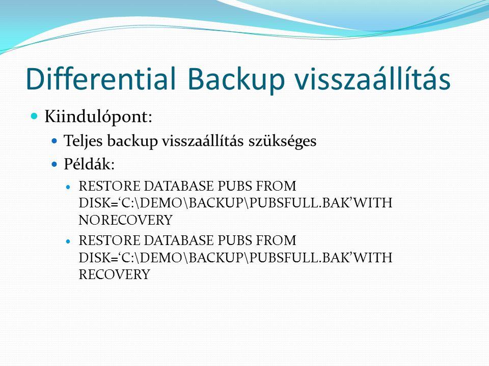 Differential Backup visszaállítás  Kiindulópont:  Teljes backup visszaállítás szükséges  Példák:  RESTORE DATABASE PUBS FROM DISK='C:\DEMO\BACKUP\