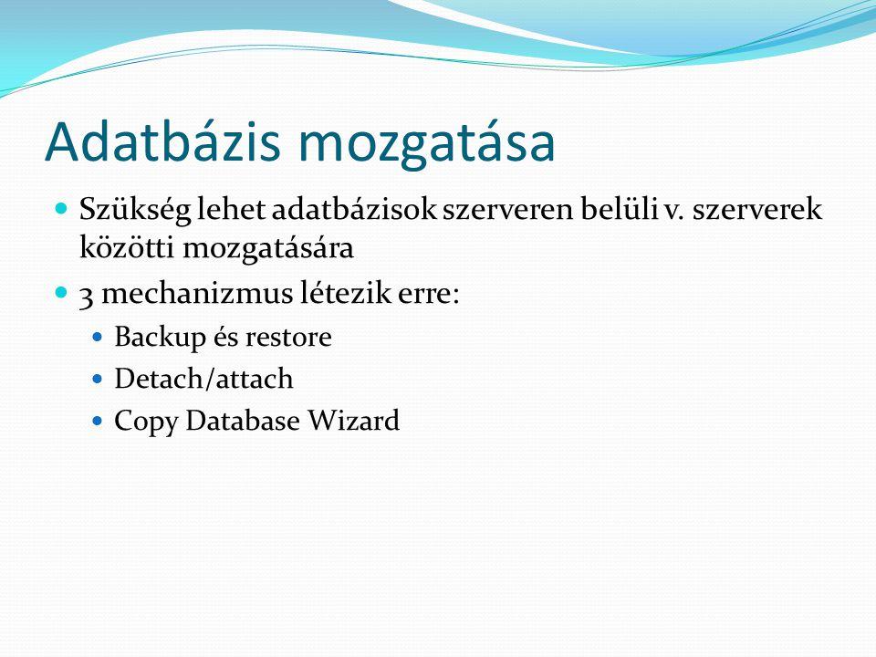 Adatbázis mozgatása  Szükség lehet adatbázisok szerveren belüli v. szerverek közötti mozgatására  3 mechanizmus létezik erre:  Backup és restore 