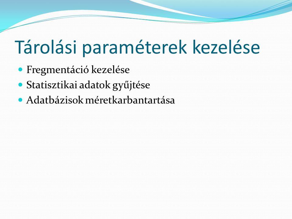 Tárolási paraméterek kezelése  Fregmentáció kezelése  Statisztikai adatok gyűjtése  Adatbázisok méretkarbantartása