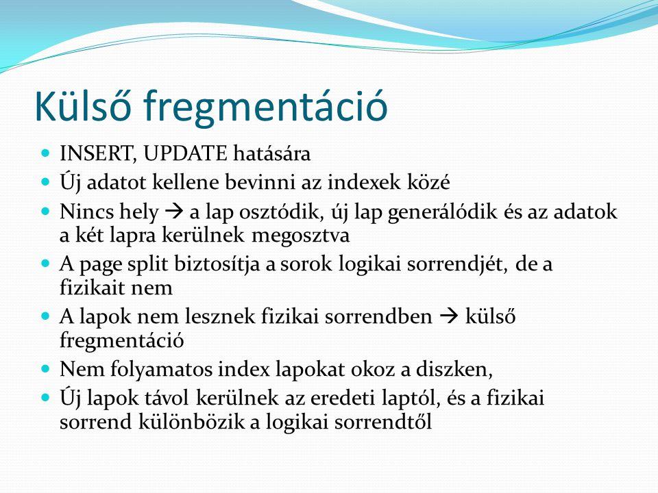 Külső fregmentáció  INSERT, UPDATE hatására  Új adatot kellene bevinni az indexek közé  Nincs hely  a lap osztódik, új lap generálódik és az adato