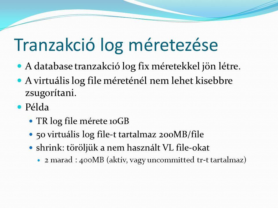 Tranzakció log méretezése  A database tranzakció log fix méretekkel jön létre.  A virtuális log file méreténél nem lehet kisebbre zsugorítani.  Pél