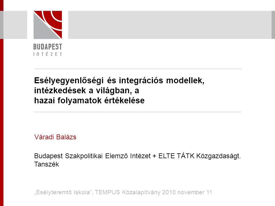 Esélyegyenlőségi és integrációs modellek, intézkedések a világban, a hazai folyamatok értékelése Váradi Balázs Budapest Szakpolitikai Elemző Intézet +