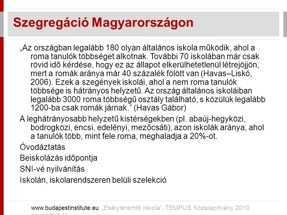 """Szegregáció Magyarországon www.budapestinstitute.eu """"Esélyteremtő Iskola"""", TEMPUS Közalapítvány 2010 november 11 """"Az országban legalább 180 olyan álta"""