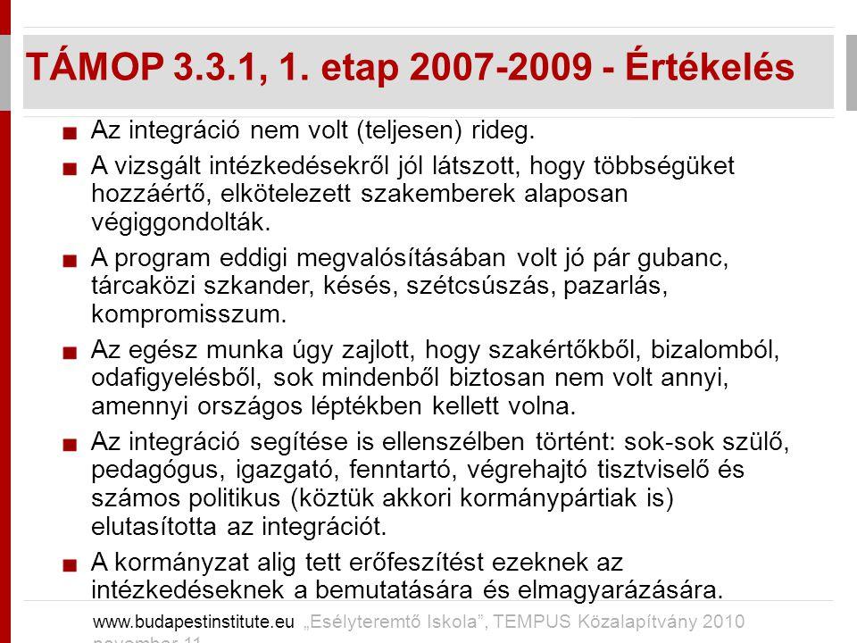 """TÁMOP 3.3.1, 1. etap 2007-2009 - Értékelés www.budapestinstitute.eu """"Esélyteremtő Iskola"""", TEMPUS Közalapítvány 2010 november 11 Az integráció nem vol"""