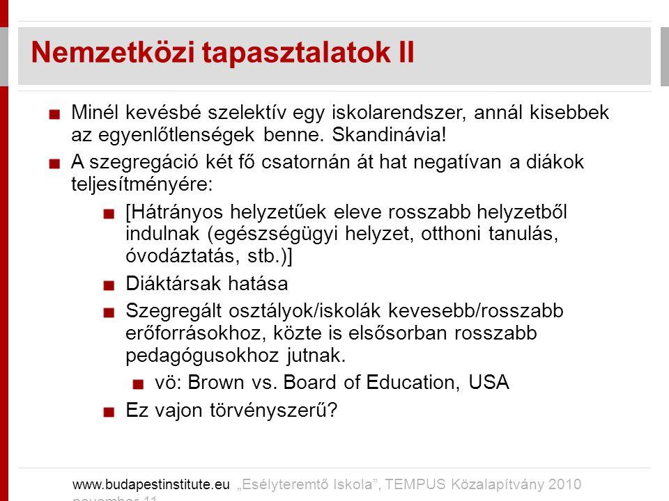 """Nemzetközi tapasztalatok II www.budapestinstitute.eu """"Esélyteremtő Iskola"""", TEMPUS Közalapítvány 2010 november 11 Minél kevésbé szelektív egy iskolare"""