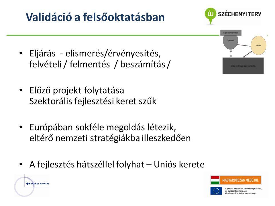 Validáció a felsőoktatásban • Eljárás - elismerés/érvényesítés, felvételi / felmentés / beszámítás / • Előző projekt folytatása Szektorális fejlesztési keret szűk • Európában sokféle megoldás létezik, eltérő nemzeti stratégiákba illeszkedően • A fejlesztés hátszéllel folyhat – Uniós kerete