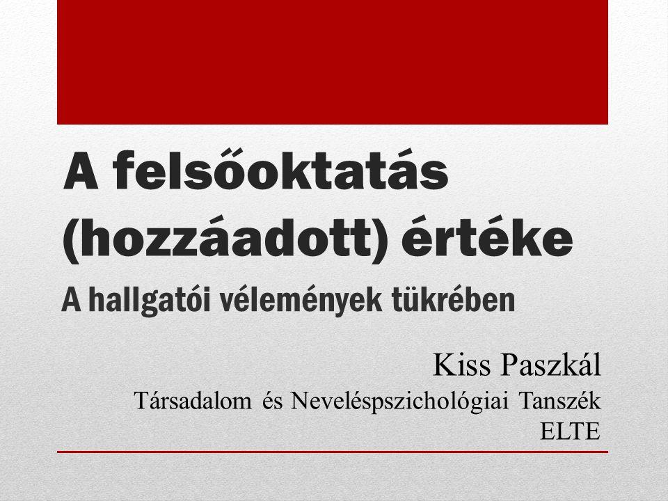 A hallgatói vélemények tükrében Kiss Paszkál Társadalom és Neveléspszichológiai Tanszék ELTE A felsőoktatás (hozzáadott) értéke