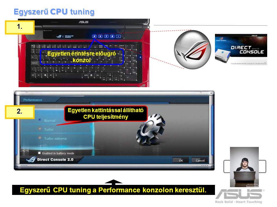 10 Egyszerű CPU tuning Egyszerű CPU tuning a Performance konzolon keresztül. Egyetlen érintésre előugró konzol Egyetlen kattintással állítható CPU tel