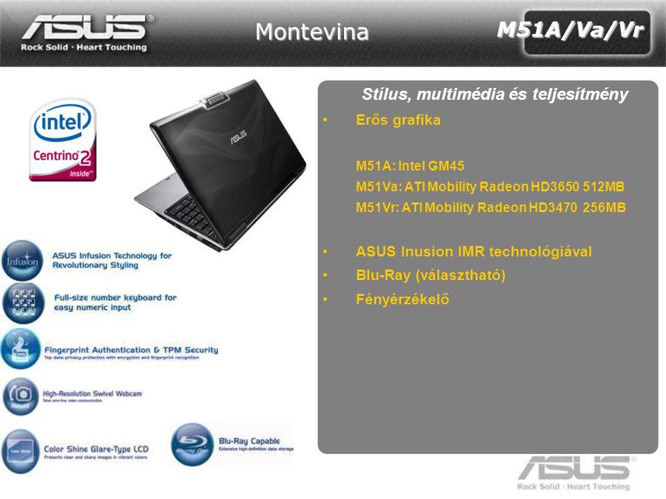 17 Z35 Stílus, multimédia és teljesítmény •Erős grafika M51A: Intel GM45 M51Va: ATI Mobility Radeon HD3650 512MB M51Vr: ATI Mobility Radeon HD3470 256MB •ASUS Inusion IMR technológiával •Blu-Ray (választható) •Fényérzékelő M51A/Va/Vr Montevina
