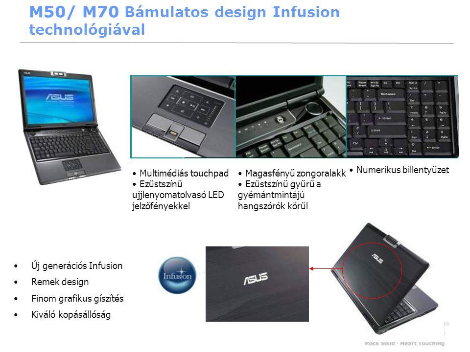 18 •Új generációs Infusion •Remek design •Finom grafikus gíszítés •Kiváló kopásállóság • Multimédiás touchpad • Ezüstszínű ujjlenyomatolvasó LED jelzőfényekkel • Magasfényű zongoralakk • Ezüstszínű gyűrű a gyémántmintájú hangszórók körül • Numerikus billentyűzet M50/ M70 Bámulatos design Infusion technológiával