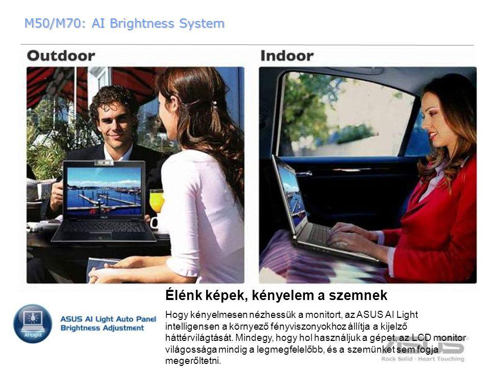 19 M50/M70: AI Brightness System M50/M70: AI Brightness System Élénk képek, kényelem a szemnek Hogy kényelmesen nézhessük a monitort, az ASUS AI Light intelligensen a környező fényviszonyokhoz állítja a kijelző háttérvilágtását.