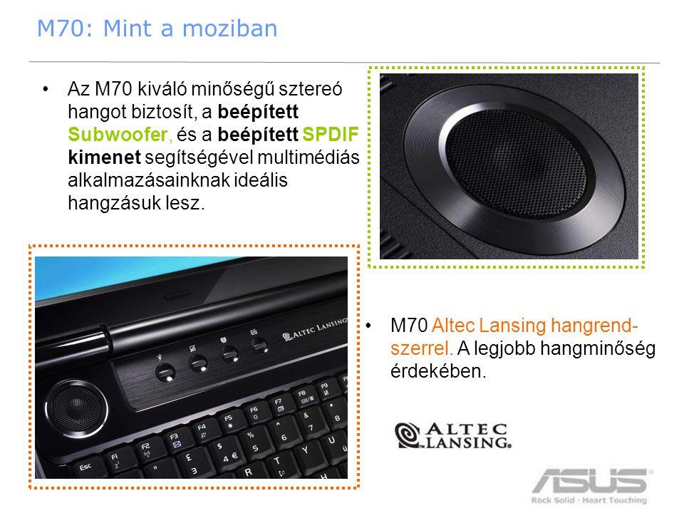21 M70: Mint a moziban •Az M70 kiváló minőségű sztereó hangot biztosít, a beépített Subwoofer, és a beépített SPDIF kimenet segítségével multimédiás a