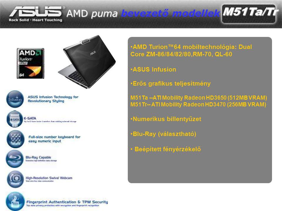 M51Ta/Tr AMD puma AMD puma bevezető modellek •AMD Turion™64 mobiltechnológia: Dual Core ZM-86/84/82/80,RM-70, QL-60 •ASUS Infusion •Erős grafikus teljesítmény M51Ta --ATI Mobility Radeon HD3650 (512MB VRAM) M51Tr-- ATI Mobility Radeon HD3470 (256MB VRAM) •Numerikus billentyűzet •Blu-Ray (választható) • Beépített fényérzékelő
