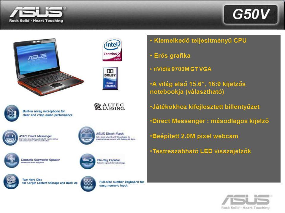 """7 • Kiemelkedő teljesítményű CPU • Erős grafika • nVidia 9700M GT VGA •A világ első 15.6"""", 16:9 kijelzős notebookja (választható) •Játékokhoz kifejles"""