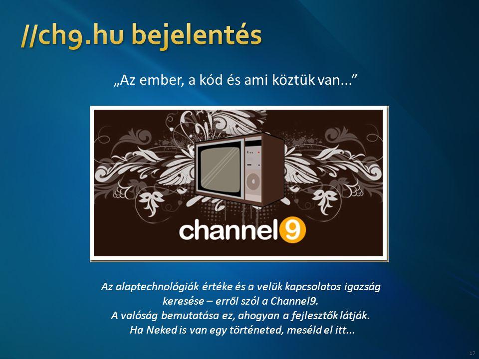 """17 """"Az ember, a kód és ami köztük van... Az alaptechnológiák értéke és a velük kapcsolatos igazság keresése – erről szól a Channel9."""