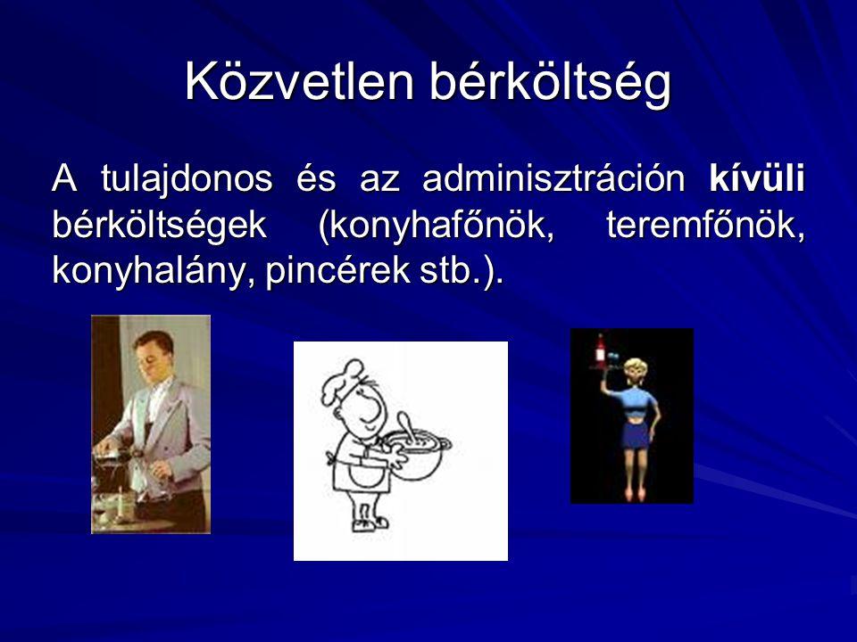Közvetlen bérköltség A tulajdonos és az adminisztráción kívüli bérköltségek (konyhafőnök, teremfőnök, konyhalány, pincérek stb.).