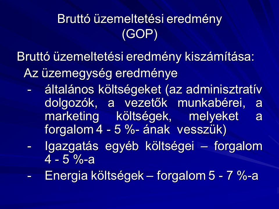Bruttó üzemeltetési eredmény (GOP) Bruttó üzemeltetési eredmény kiszámítása: Az üzemegység eredménye Az üzemegység eredménye -általános költségeket (a