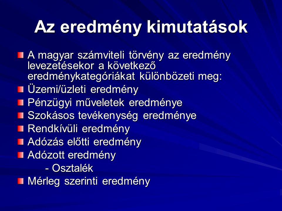 Az eredmény kimutatások A magyar számviteli törvény az eredmény levezetésekor a következő eredménykategóriákat különbözeti meg: Üzemi/üzleti eredmény