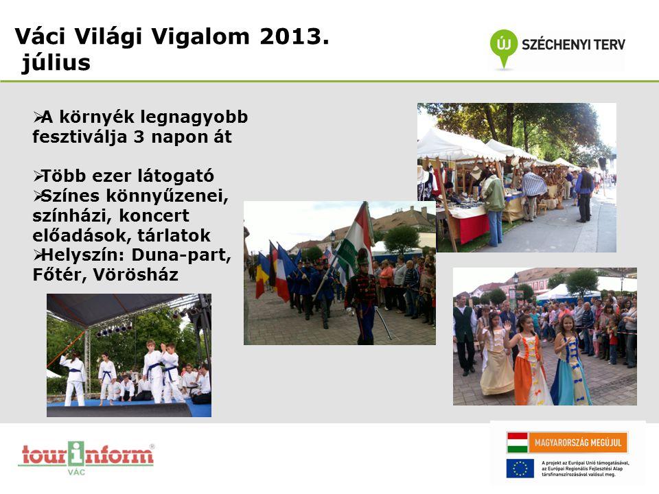 Váci Világi Vigalom 2013. július  A környék legnagyobb fesztiválja 3 napon át  Több ezer látogató  Színes könnyűzenei, színházi, koncert előadások,
