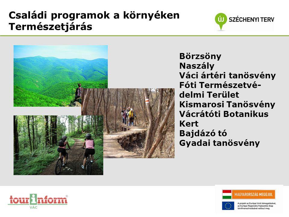Családi programok a környéken Természetjárás Börzsöny Naszály Váci ártéri tanösvény Fóti Természetvé- delmi Terület Kismarosi Tanösvény Vácrátóti Bota