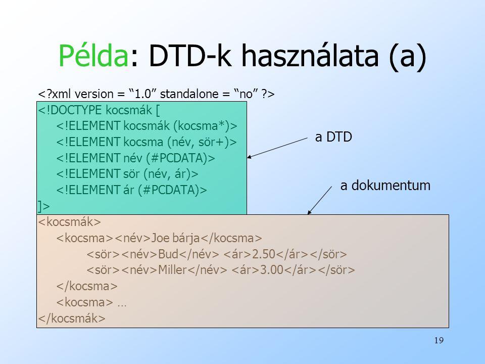 19 Példa: DTD-k használata (a) <!DOCTYPE kocsmák [ ]> Joe bárja Bud 2.50 Miller 3.00 … a DTD a dokumentum