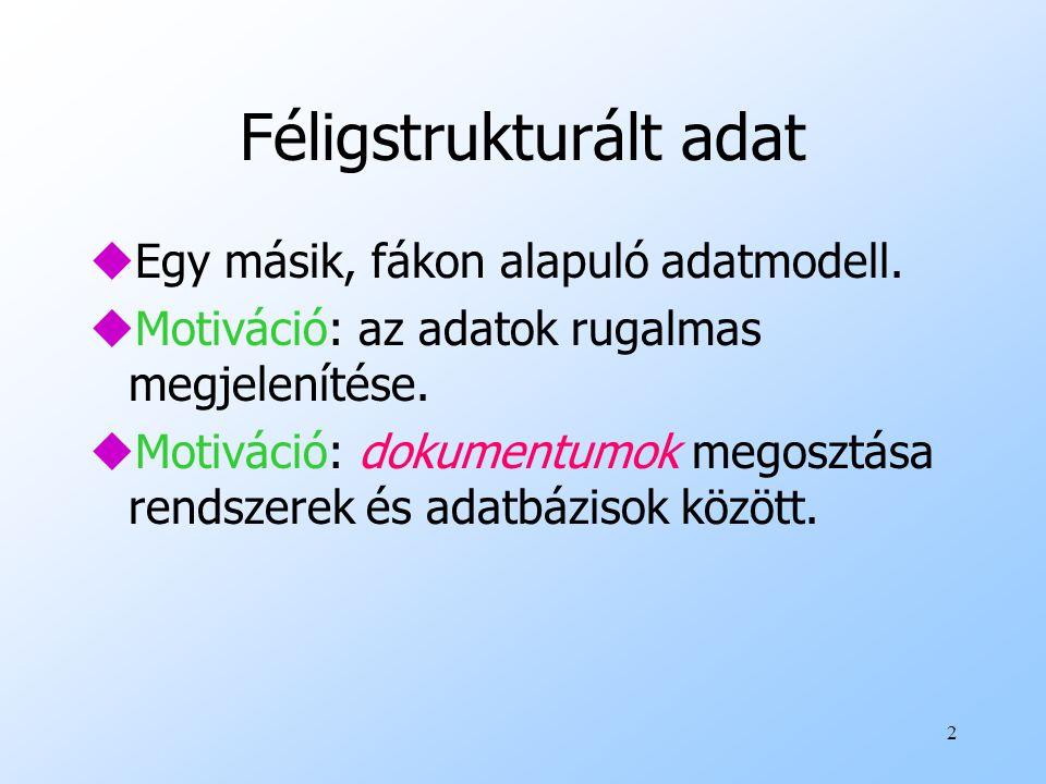 2 Féligstrukturált adat uEgy másik, fákon alapuló adatmodell.